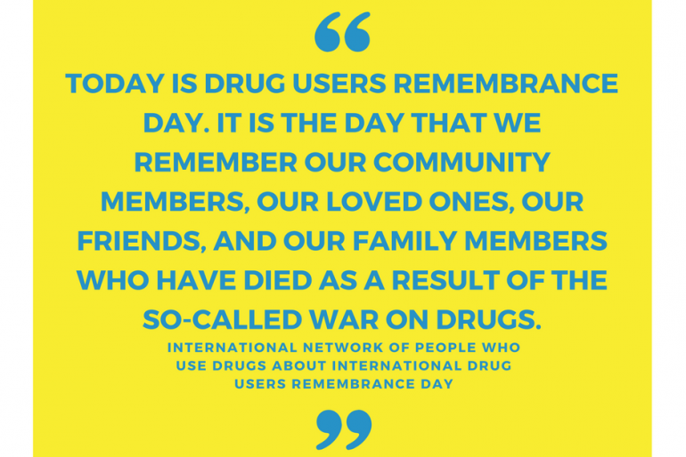 Today Designated as International Drug Users Remembrance Day by INPUD