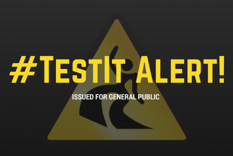 #TestIt Alert Issued for General Public