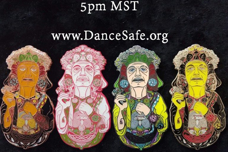 New DanceSafe supporter pin – Xochipilli by Blank Mind Designs